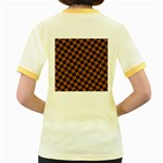HOUNDSTOOTH2 BLACK MARBLE & RUSTED METAL Women s Fitted Ringer T-Shirts Back