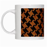 HOUNDSTOOTH2 BLACK MARBLE & RUSTED METAL White Mugs Left