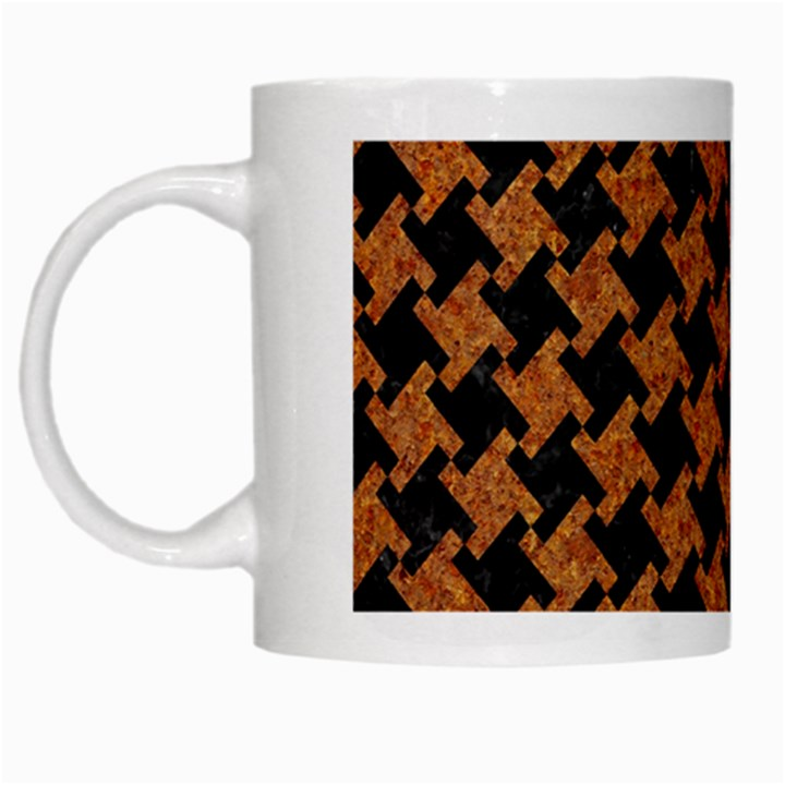 HOUNDSTOOTH2 BLACK MARBLE & RUSTED METAL White Mugs