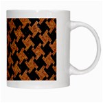 HOUNDSTOOTH2 BLACK MARBLE & RUSTED METAL White Mugs Right