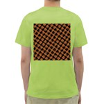 HOUNDSTOOTH2 BLACK MARBLE & RUSTED METAL Green T-Shirt Back