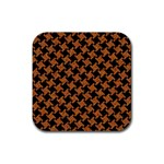 HOUNDSTOOTH2 BLACK MARBLE & RUSTED METAL Rubber Coaster (Square)  Front