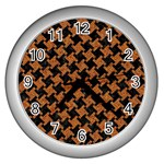 HOUNDSTOOTH2 BLACK MARBLE & RUSTED METAL Wall Clocks (Silver)  Front