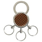HOUNDSTOOTH2 BLACK MARBLE & RUSTED METAL 3-Ring Key Chains Front