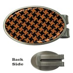 HOUNDSTOOTH2 BLACK MARBLE & RUSTED METAL Money Clips (Oval)  Front