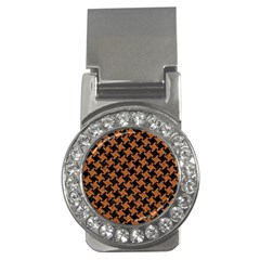 Houndstooth2 Black Marble & Rusted Metal Money Clips (cz)
