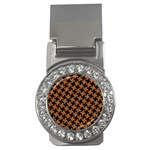 HOUNDSTOOTH2 BLACK MARBLE & RUSTED METAL Money Clips (CZ)  Front