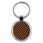 HOUNDSTOOTH2 BLACK MARBLE & RUSTED METAL Key Chains (Round)  Front