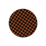 HOUNDSTOOTH2 BLACK MARBLE & RUSTED METAL Rubber Round Coaster (4 pack)  Front