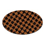HOUNDSTOOTH2 BLACK MARBLE & RUSTED METAL Oval Magnet Front