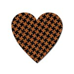 HOUNDSTOOTH2 BLACK MARBLE & RUSTED METAL Heart Magnet Front