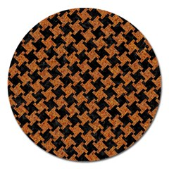 Houndstooth2 Black Marble & Rusted Metal Magnet 5  (round)