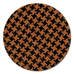 HOUNDSTOOTH2 BLACK MARBLE & RUSTED METAL Magnet 5  (Round) Front