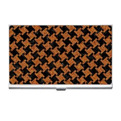 Houndstooth2 Black Marble & Rusted Metal Business Card Holders