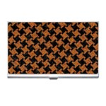 HOUNDSTOOTH2 BLACK MARBLE & RUSTED METAL Business Card Holders Front