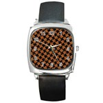 HOUNDSTOOTH2 BLACK MARBLE & RUSTED METAL Square Metal Watch Front