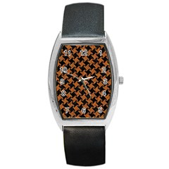 Houndstooth2 Black Marble & Rusted Metal Barrel Style Metal Watch