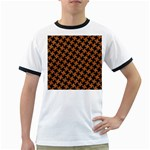 HOUNDSTOOTH2 BLACK MARBLE & RUSTED METAL Ringer T-Shirts Front