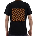 HOUNDSTOOTH2 BLACK MARBLE & RUSTED METAL Men s T-Shirt (Black) (Two Sided) Back