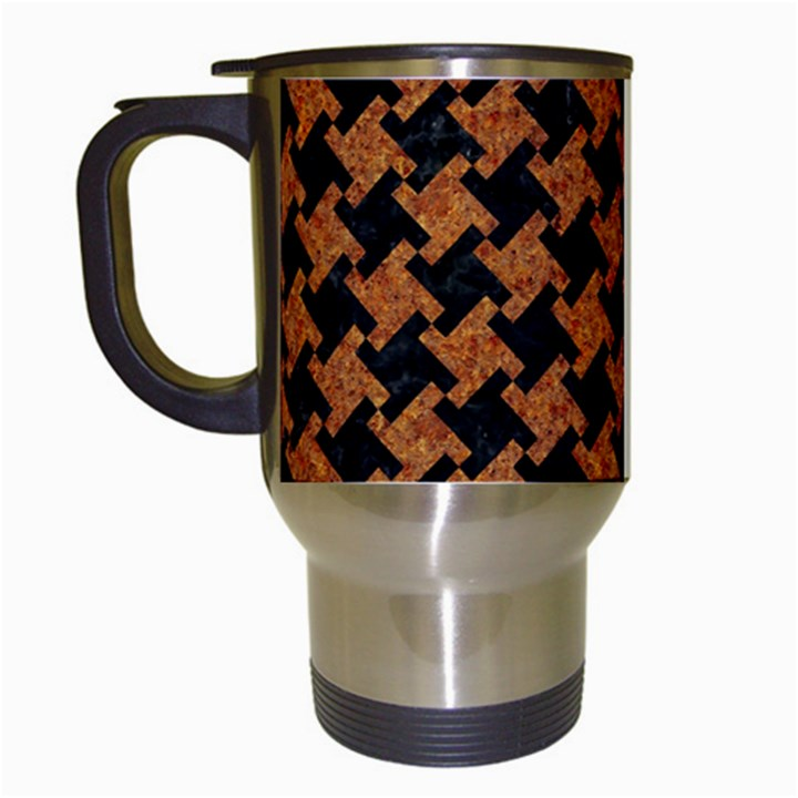 HOUNDSTOOTH2 BLACK MARBLE & RUSTED METAL Travel Mugs (White)