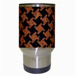 HOUNDSTOOTH2 BLACK MARBLE & RUSTED METAL Travel Mugs (White) Center
