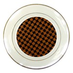 HOUNDSTOOTH2 BLACK MARBLE & RUSTED METAL Porcelain Plates Front