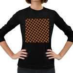 HOUNDSTOOTH2 BLACK MARBLE & RUSTED METAL Women s Long Sleeve Dark T-Shirts Front