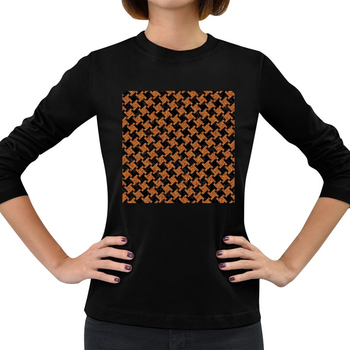 HOUNDSTOOTH2 BLACK MARBLE & RUSTED METAL Women s Long Sleeve Dark T-Shirts