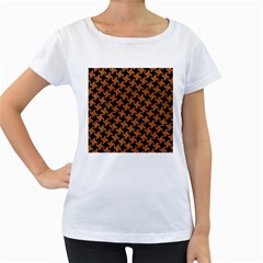 Houndstooth2 Black Marble & Rusted Metal Women s Loose Fit T Shirt (white)