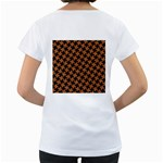 HOUNDSTOOTH2 BLACK MARBLE & RUSTED METAL Women s Loose-Fit T-Shirt (White) Back