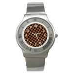HOUNDSTOOTH2 BLACK MARBLE & RUSTED METAL Stainless Steel Watch Front