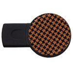 HOUNDSTOOTH2 BLACK MARBLE & RUSTED METAL USB Flash Drive Round (4 GB) Front