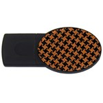 HOUNDSTOOTH2 BLACK MARBLE & RUSTED METAL USB Flash Drive Oval (4 GB) Front