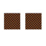 HOUNDSTOOTH2 BLACK MARBLE & RUSTED METAL Cufflinks (Square) Front