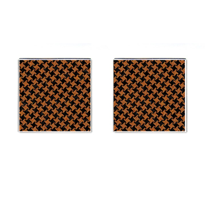 HOUNDSTOOTH2 BLACK MARBLE & RUSTED METAL Cufflinks (Square)