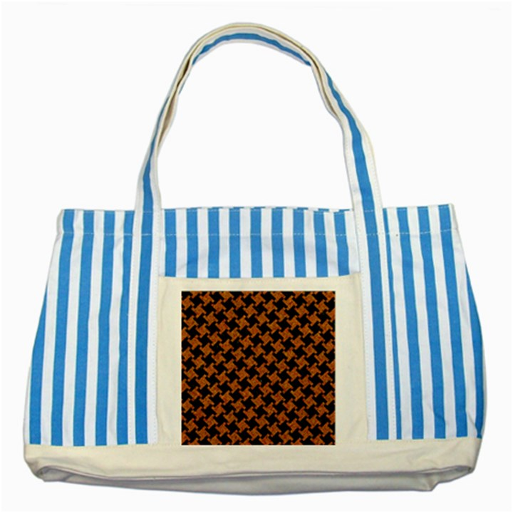 HOUNDSTOOTH2 BLACK MARBLE & RUSTED METAL Striped Blue Tote Bag