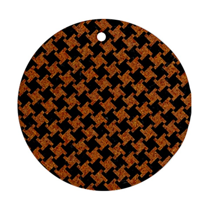 HOUNDSTOOTH2 BLACK MARBLE & RUSTED METAL Round Ornament (Two Sides)
