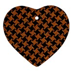 HOUNDSTOOTH2 BLACK MARBLE & RUSTED METAL Heart Ornament (Two Sides) Front
