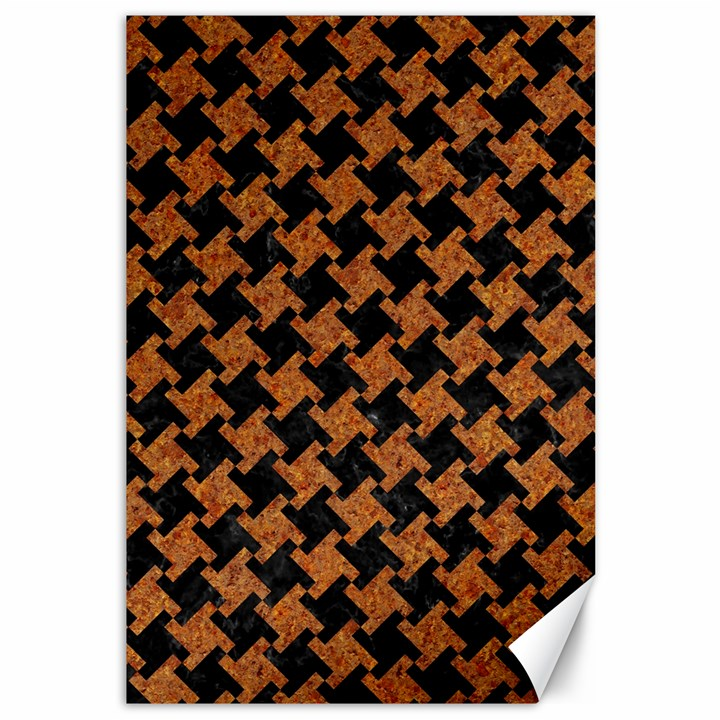 HOUNDSTOOTH2 BLACK MARBLE & RUSTED METAL Canvas 12  x 18