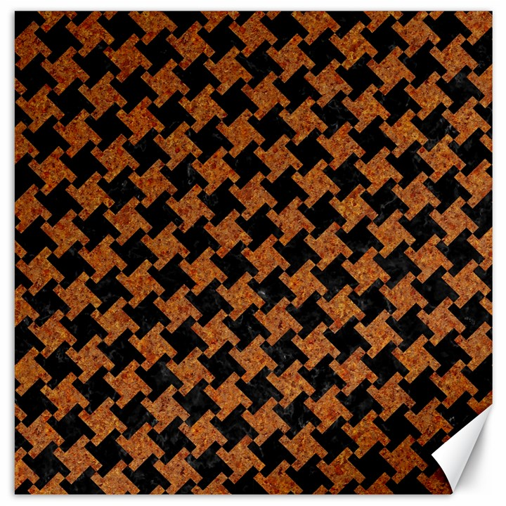 HOUNDSTOOTH2 BLACK MARBLE & RUSTED METAL Canvas 20  x 20