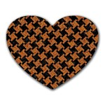 HOUNDSTOOTH2 BLACK MARBLE & RUSTED METAL Heart Mousepads Front