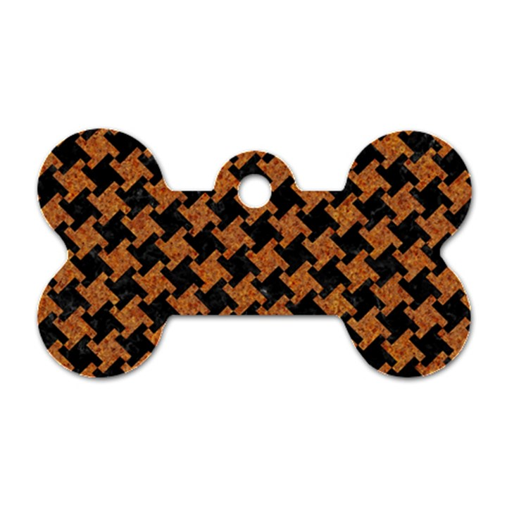 HOUNDSTOOTH2 BLACK MARBLE & RUSTED METAL Dog Tag Bone (One Side)
