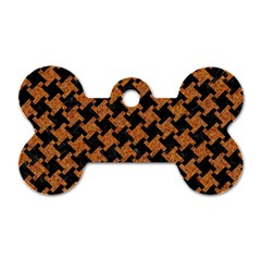 Houndstooth2 Black Marble & Rusted Metal Dog Tag Bone (two Sides)