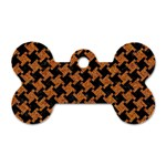 HOUNDSTOOTH2 BLACK MARBLE & RUSTED METAL Dog Tag Bone (Two Sides) Front