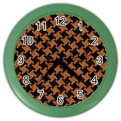 Houndstooth2 Black Marble & Rusted Metal Color Wall Clocks