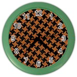 HOUNDSTOOTH2 BLACK MARBLE & RUSTED METAL Color Wall Clocks Front