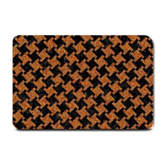 Houndstooth2 Black Marble & Rusted Metal Small Doormat