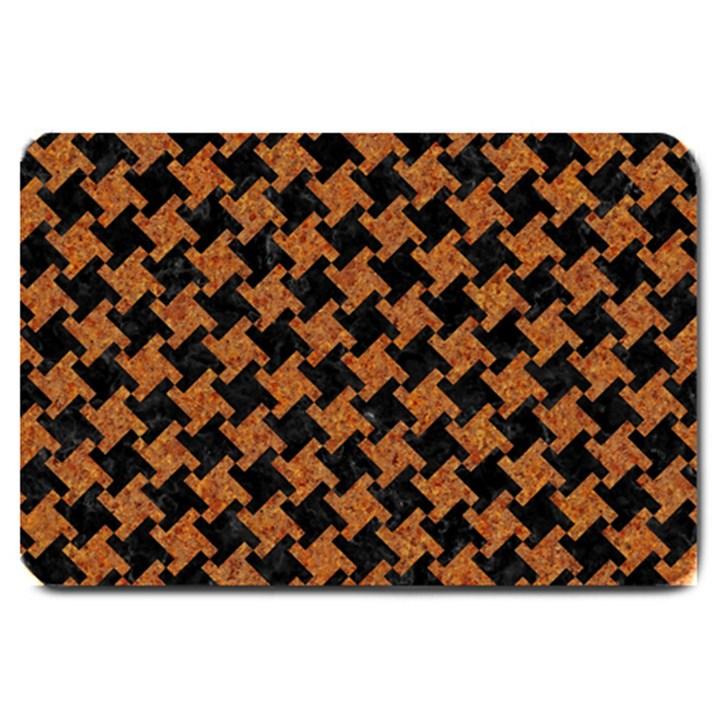 HOUNDSTOOTH2 BLACK MARBLE & RUSTED METAL Large Doormat