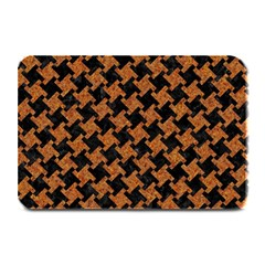 Houndstooth2 Black Marble & Rusted Metal Plate Mats