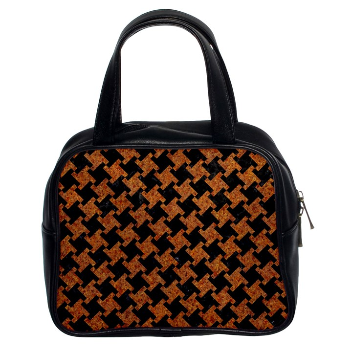 HOUNDSTOOTH2 BLACK MARBLE & RUSTED METAL Classic Handbags (2 Sides)